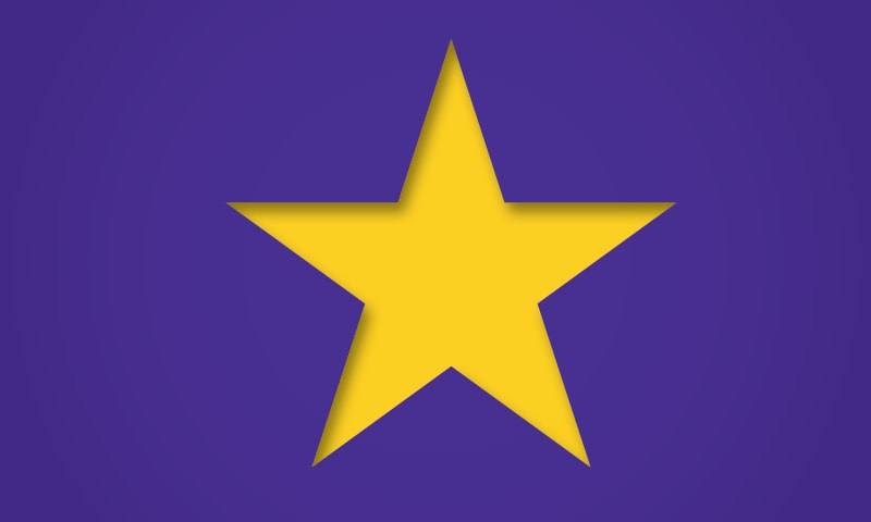 Gold star on a purple background.