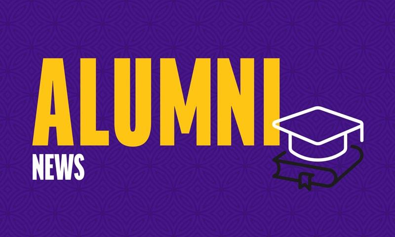 Alumni news with illustration of graduation cap and diploma