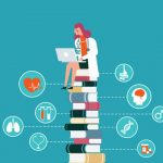 Illustration of nurse student on laptop, sitting a top a stack of books