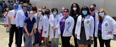 Group of nurses standing outside LSU School of Medicine