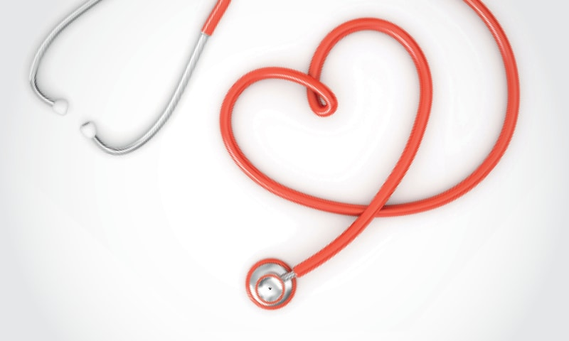 A stethoscope that forms a heart shape.