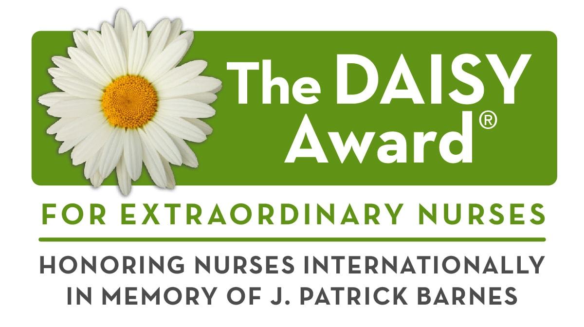 DAISY Award Logo, showing a white daisy on a green background
