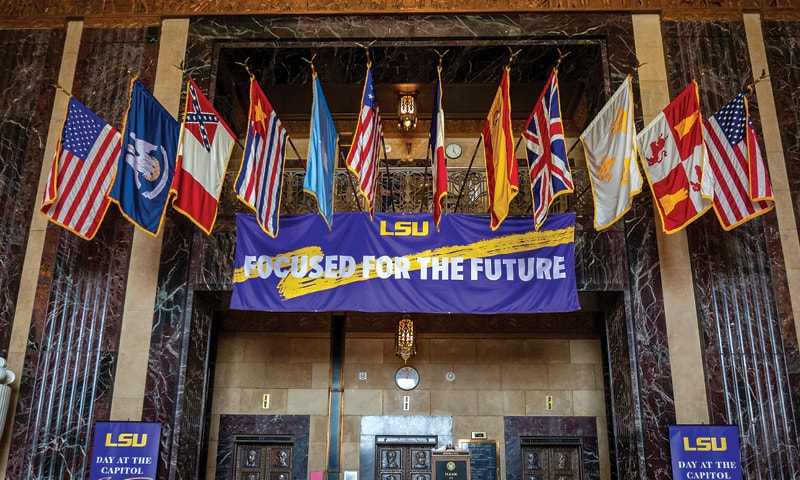 A purple and gold LSU banner with the words Focused For The Future.